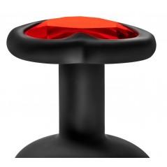 Collant resille noir sexy et laçage rouge